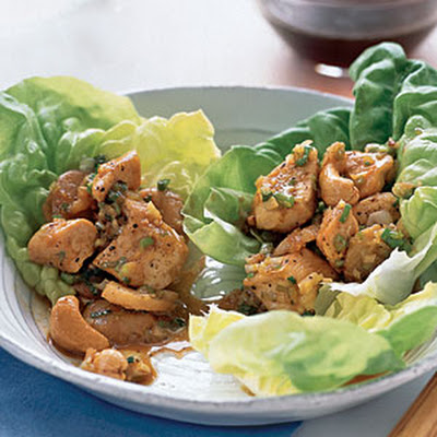 Chicken and Cashews in Lettuce Cups