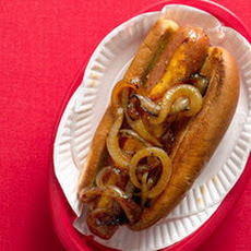 Cheese-Stuffed Hot Dogs with Spicy Onions