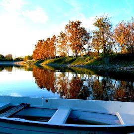 Autumn at Danube by Ivana Basaric - Landscapes Waterscapes ( waterscape, autumn, trees, boat, river, fall, color, colorful, nature )