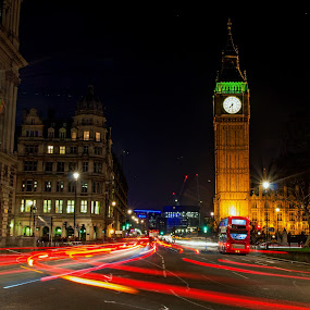 Big Ben London bus by Brian Miller - City,  Street & Park  Historic Districts ( light trail, bus, london, night, big ben,  )