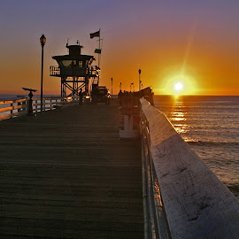 Pier in San Clemente, CA by Jackie Stoner - Buildings & Architecture Bridges & Suspended Structures ( san clemente, sunset, california, pacific ocean, pier )