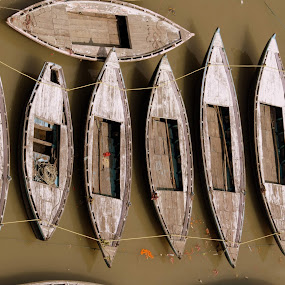Boats by Dhritiman Lahiri - Transportation Boats ( boating, boatman, boats, benaras, india, river, water, device, transportation )
