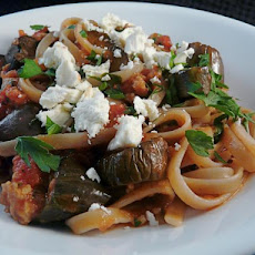 Roasted Eggplant and Sausage With Linguine
