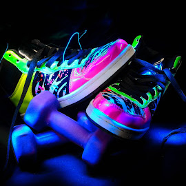 Gyming in style by Wil Moore - Sports & Fitness Fitness ( weight, still life, neon, lightpainting, sneakers, mood, mood factory, holiday, christmas, hanukkah, red, green, lights, artifical, lighting, colors, Kwanzaa, blue, black, celebrate, tis the season, festive )