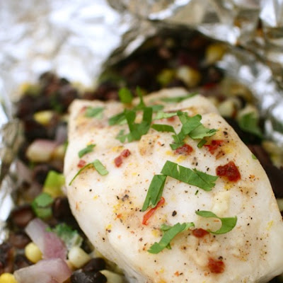 Halibut with Chipotle Compound Butter in Foil Packets