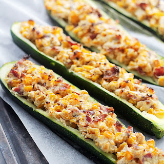 Cheesy Bacon and Corn Stuffed Zucchini