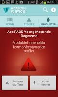 Screenshot of Forbrukerrådet Hormonsjekk