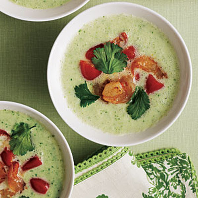 Cucumber Gazpacho with Shrimp Relish