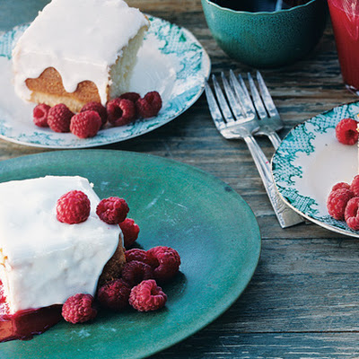 Yogurt Cake with Currant Raspberry Sauce