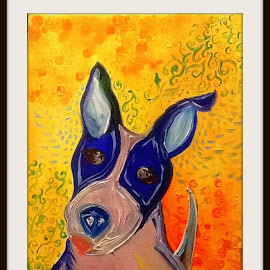 Shelter pup by Melissa Parrish - Painting All Painting ( oils, pets, pit bull, dog portrait, dog, oil painting,  )