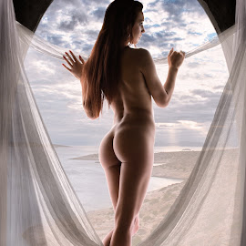 Room with a View by Panagiotis Assonitis - Nudes & Boudoir Artistic Nude ( body, model, person, nude, beauty, landscape, pretty, caucasian, looking, sexy, curtains, girl, nature, woman, attractive, black, beautiful, white, romantic, sea, adult, young, portrait, sensual, window, female, naked, sunset, elegant, cloud, lady, natural,  )