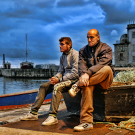 Waiting to go to sea by Antonio Amen - People Street & Candids ( fishermen, sea.nets, waiting, boats, seating, web )