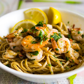 lunch at home by Elaina Edzahar - Food & Drink Cooking & Baking ( home, recipe, juliachild, shrimp, food, cooking, frenchfood, french, lunch, linguine, lemon )