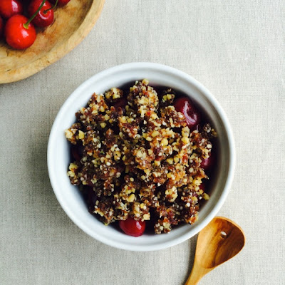 Raw Vegan Cherry Cobbler with Walnut, Date, and Chia Crumble Topping
