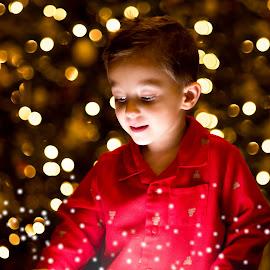 Christmas Magic by Richard Zellmer - People Family ( christmas lights, christmas, children, christmas tree, bokeh )