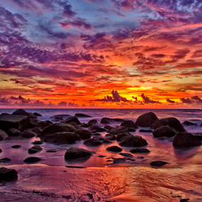 Sky Painting by Charliemagne Unggay - Landscapes Waterscapes ( sky, sunset, colors, sea, phuket, rocks, landscape, beach )