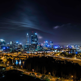 perth city from kings park by Jeff Miles - City,  Street & Park  Skylines