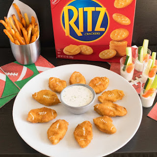 Big game Ritz cracker chicken nugget footballs