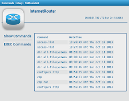 Screenshot of Cisco Router Commands History