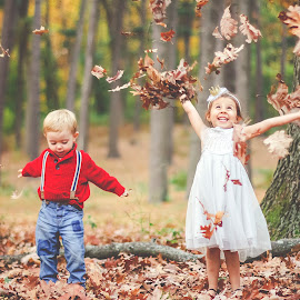 Joy by Krystal Ferington-Timozek - Babies & Children Children Candids ( fall, happiness, forest, kids, toddlers, leaves )