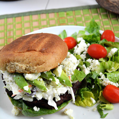 {15 Minute} Spicy Black Bean Burgers with Blue Cheese Coleslaw