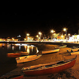 Seixal Á Noite by Jose Candeias - Landscapes Waterscapes ( seixal, water, reflections, night, portugal )