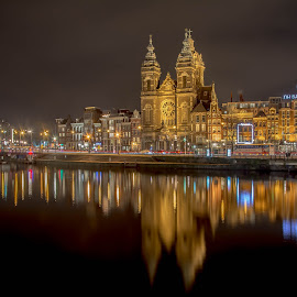 Sint Nicolaas kerk, Amsterdam  by Marcel Eringaard - City,  Street & Park  Historic Districts ( nikonshooter, night photography, church, sintnicolaaskerk, amsterdam, nightscape,  )