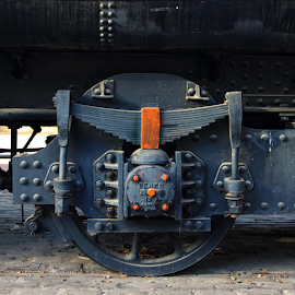 by Francisco García Ríos - Transportation Trains ( detail, europe, españa, tamron adaptall, wheel, rivets, iron, spain, parque lineal, mechanics, train, albacete, manual lens, renfe, engine, vintage, nuts, loco, steel, bolts, railway, locomotive, tender, screws, mikado, steam )