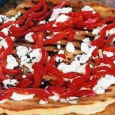 Pizza with Roasted Garlic, Bell Peppers and Two Cheeses