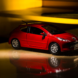 Red Car by Fabio Latorre - Artistic Objects Toys ( car, flash, reflection, red, yellow )