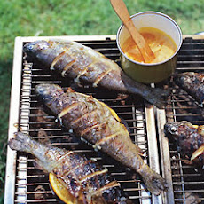 Grilled Striped Bass with Orange-Saffron Butter