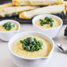 Spicy Roasted Corn and Poblano Soup