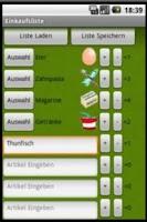Screenshot of Einkaufsliste