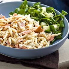 Hot-smoked Salmon With Creamy Pasta & Pine Nuts