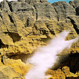 Blow Hole by Marion Metz - Nature Up Close Rock & Stone ( pancake rocks, rock, ocean, coastline, blowhole, new zealand )