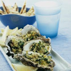 Grilled Oysters With Fennel And Spinach Topping
