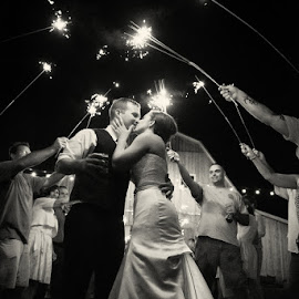 K&S by Julie Steinberg - Wedding Bride & Groom ( black and white, wedding, night, bride, groom, exit, sparklers, Wedding, Weddings, Marriage )