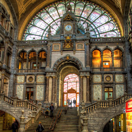 Antwerp Train Station Lobby by Glenn Forrest - Buildings & Architecture Public & Historical ( famous, lobby, colorful, station, train, antwerp )