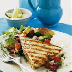 Pan-fried swordfish steaks with Mexican salad