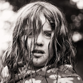 Jumping in the Mud - Afterwards [B&W] by Dominic Lemoine Photography - Babies & Children Children Candids ( b&w, mud, girl, exhausted, jumping, tired, summer, bnw, hair )