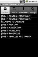 Screenshot of Texas Transportation Code
