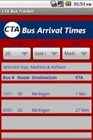 Screenshot of CTA Bus Tracker