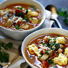 Curried Chicken, Chickpea, and Rice Soup