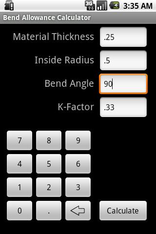 Bend Allowance Calculator