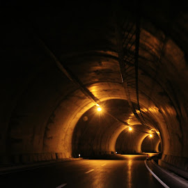 Mountain Tunnel 2 by Tamsin Carlisle - Transportation Roads ( curve, lights, mountain, turkey, road, tunnel,  )