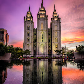 Temple at Sunset by Givanni Mikel - Buildings & Architecture Places of Worship ( temple, reflection, sunset, mirror pond, salt lake city,  )