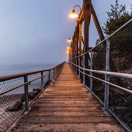 Foggy Pier by Jeffery Hayes - City,  Street & Park  City Parks ( fog, seattle, pier, jack block park, dusk )