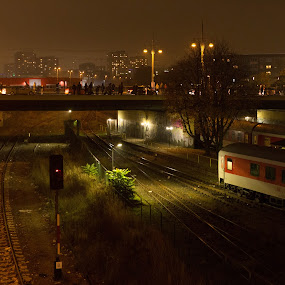 Berlin, S Warschauer Strasse by Manuel Herrmann - City,  Street & Park  Street Scenes ( railway, night, germany, bridge, berlin, , colorful, mood factory, vibrant, happiness, January, moods, emotions, inspiration )