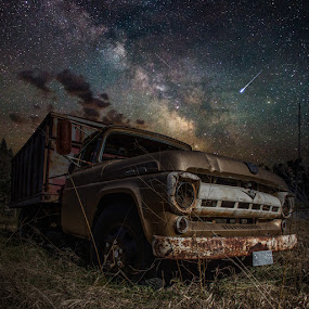 Ford by Aaron Groen - Transportation Other ( milkyway, old, pickup, aaron groen, truck, homegroen photography, high iso, meteor, shooting star, south dakota, milky way, farm, sky, light painting, flashlight, stars, night, long exposure, ford, galactic center, abandoned, galaxy )