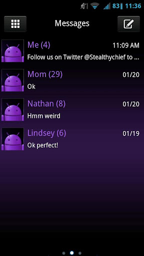 GO SMS Dark Purple Theme